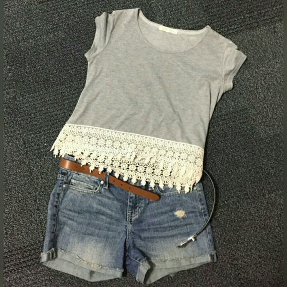 Rewind Tops - Rewind gray top with lace trim